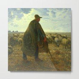 """Jean-François Millet """"Shepherd Tending His Flock"""" Metal Print"""