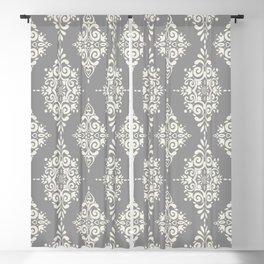 Modern Floral Damask Pattern – Neutral Medium Gray and Light Beige Blackout Curtain