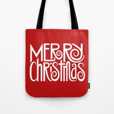 Merry Christmas Text White Tote Bag