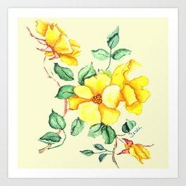 YELLOW FLOWER ON CREAM Art Print