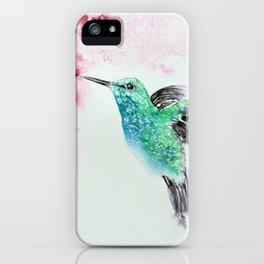 Hummingbird Watercolor Painting by Nisha Sehjpal iPhone Case