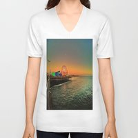 santa monica V-neck T-shirts featuring Santa Monica Pier by The Agate Hunter