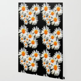 high contrast daisies pastel drawing Wallpaper
