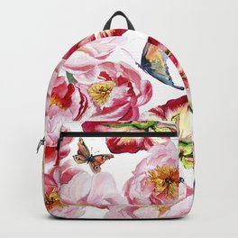 Pink flowers peony and butterfly background watercolor wedding illustration Backpack