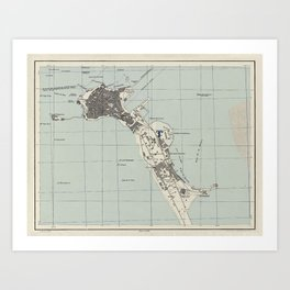 Vintage Map of Cadiz Spain (1943) Art Print