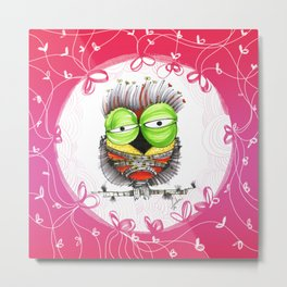 THe HaPpy iN loVE nOSTAlgic, sAD owLs  16 Metal Print