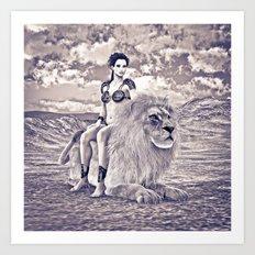 Beauty and Lion Art Print