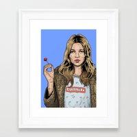 kate moss Framed Art Prints featuring Kate Moss  by guissëpi