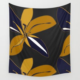 Golden Flowers Wall Tapestry
