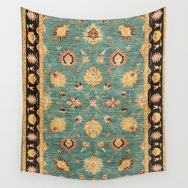 Oushak  Antique Gold Teal Turkish Rug Print Wall Tapestry