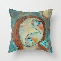 scott pilgrim Throw Pillows featuring The pilgrim by Dulcamara
