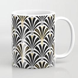 Art Deco Fan Pattern, Black and White Coffee Mug