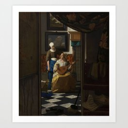 The Love Letter (ca 1669 -1670) by Johannes Vermeer Art Print