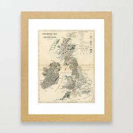 Vintage and Retro Geological Map British Isles Framed Art Print