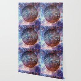 Moon Phases Rose Gold Mandala Wallpaper