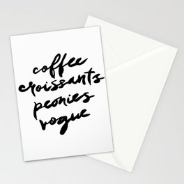 coffee croissants peonies Stationery Cards