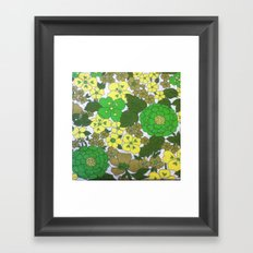 Retro floral sheets greens Framed Art Print