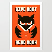 GIVE HOOT / READ BOOK Art Print