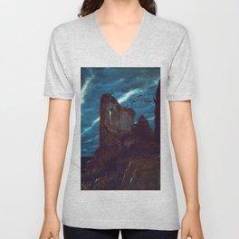 Twilight of the Abandoned Isles landscape painting by Arnold Bocklin Unisex V-Neck