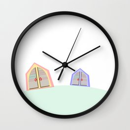 happy houses on a hill Wall Clock
