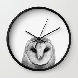 Owl portrait black and white Wall Clock