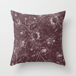 Cherry Blossom Tree - Chestnut Throw Pillow