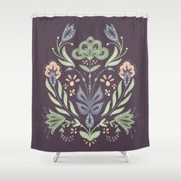 Folk Art Floral Bouquet Shower Curtain