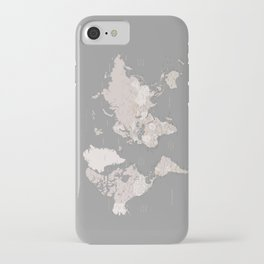 """World map in taupe and brown, """"Fabrizio"""" iPhone Case"""
