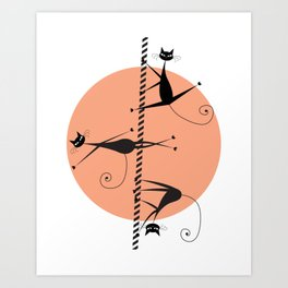 Pole dancing cats Art Print