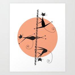 Pole dancing cats Art Print