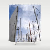 sailing Shower Curtains featuring sailing by habish