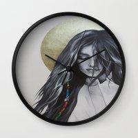 bohemian Wall Clocks featuring Bohemian Angel by Iva Mara