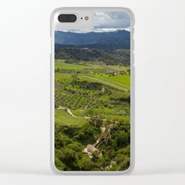 Cliffs in the city of Ronda, Spain. View of the field covered with clouds. Clear iPhone Case