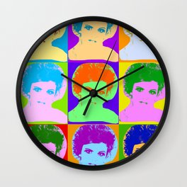 Poster with girl in popart style Wall Clock