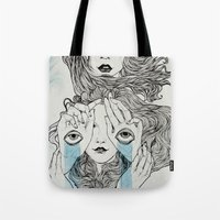 sisters Tote Bags featuring Sisters by Katastrofe
