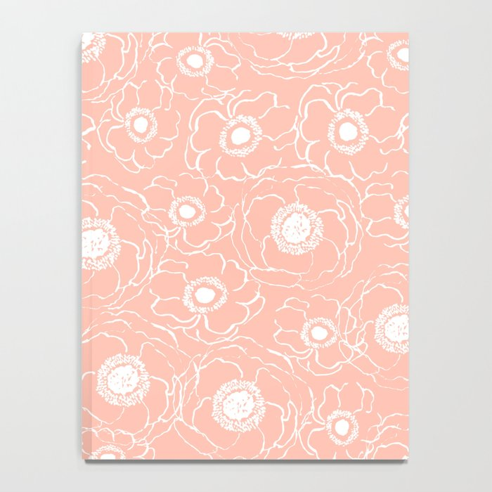 Blush Flowers cute boho modern floral pattern print spring summer garden nature love monochrome Notebook