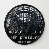 courage Wall Clocks featuring Courage by Mantras from the Owner's Manual