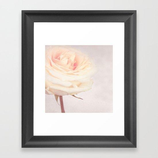 GRAZIE - White Wedding Rose Framed Art Print