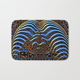 7852s-KMA_4972 Abstract Feminine Booty in Blue Stripes Bath Mat
