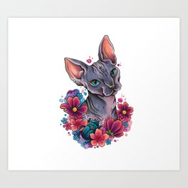 Neo Traditional Sphynx cat and flowers Art Print