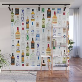 Tequila, Whiskey, Vodka Bottles Illustration Wall Mural