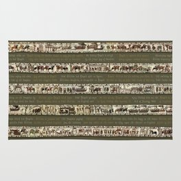 Bayeux Tapestry on Army Green - Full scenes & description Rug