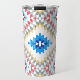 Colorful patchwork mosaic oriental kilim rug with traditional folk geometric ornament Travel Mug