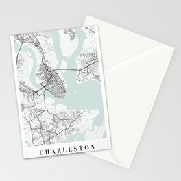 Charleston South Carolina Blue Water Street Map Stationery Cards