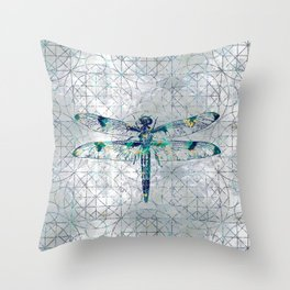 Gemstone Dragonfly on sacred geometry pattern Throw Pillow