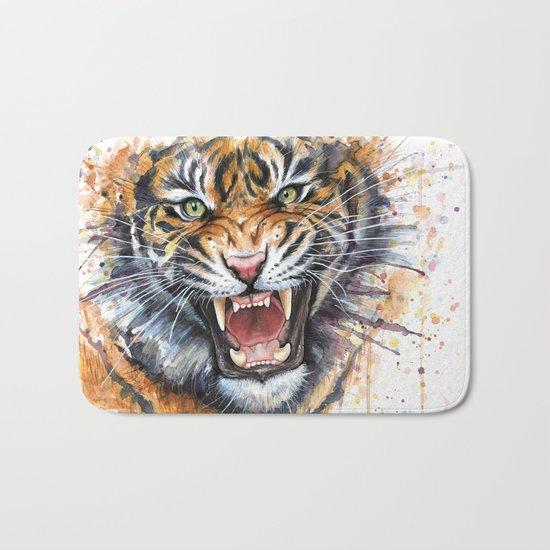 Tiger Roaring Wild Jungle Animal Bath Mat