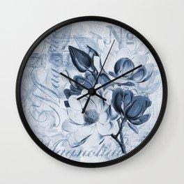 Blue Magnolia vintage flower illustration Wall Clock