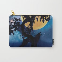 Wolf howling at the full moon Carry-All Pouch