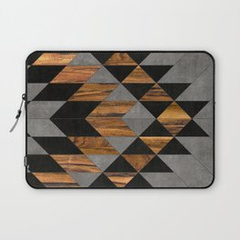 Urban Tribal Pattern 10 - Aztec - Concrete and Wood Laptop Sleeve