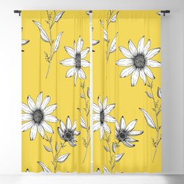 Wildflower line drawing | Botanical Art Blackout Curtain